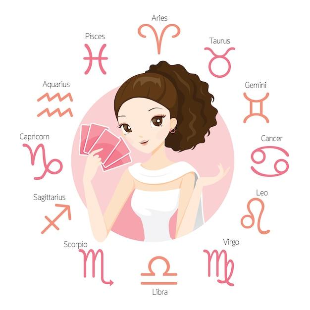 Женщина гадалка и карта таро с 12 астрологическими знаками зодиака Premium векторы