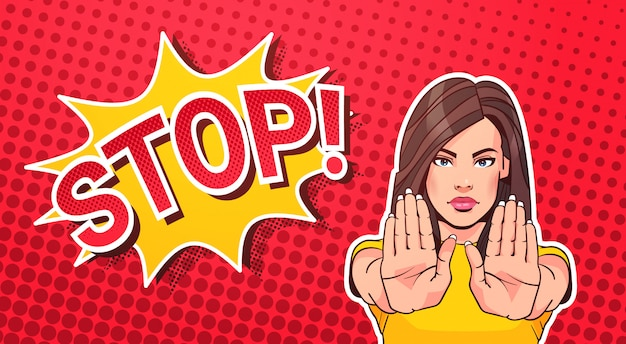 Woman gesturing no or stop sign pop art style banner dot background Premium Vector