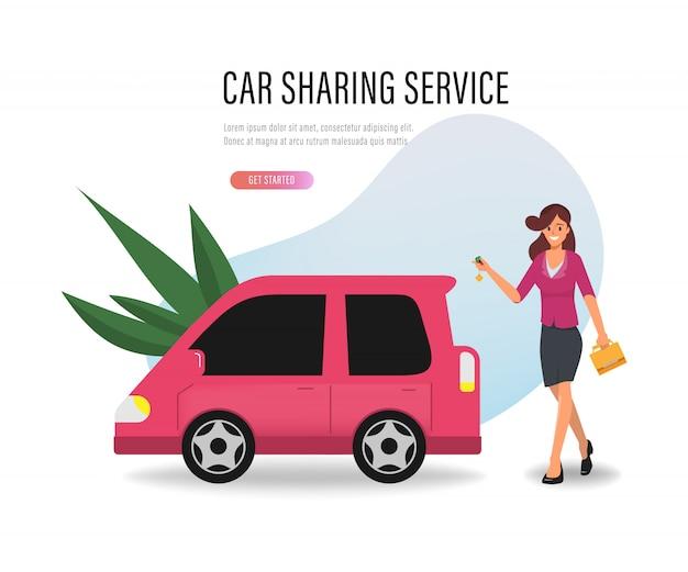女性はカーシェアリングサービスを利用できます。 Premiumベクター