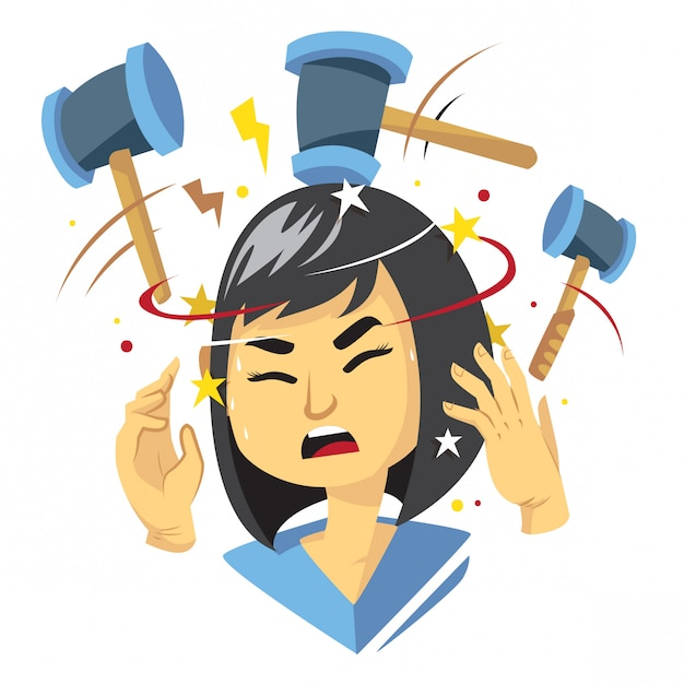 Woman getting headache illustration Premium Vector