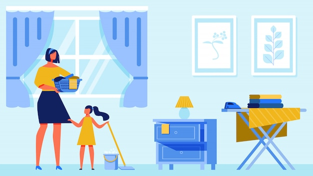 Woman and girl clean apartment. Premium Vector