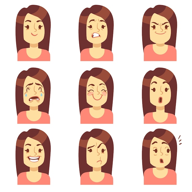 Woman, girl face emotions expression vector avatar icons. emotional sad and angry, unhappy and fear Premium Vector