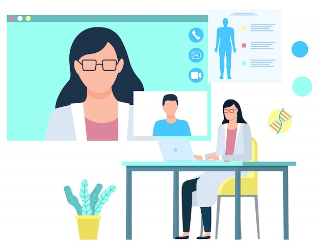 Woman giving consultation to patient medicine Premium Vector