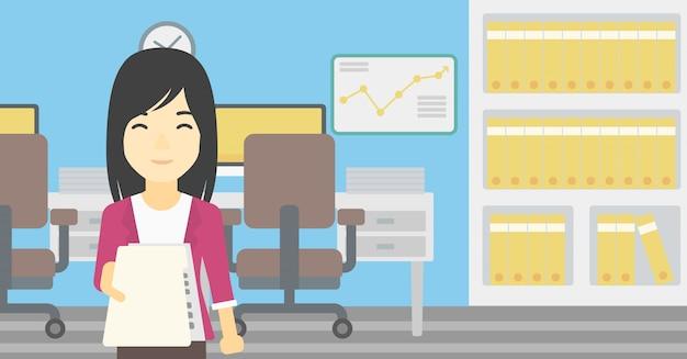 Woman giving resume vector illustration. Premium Vector