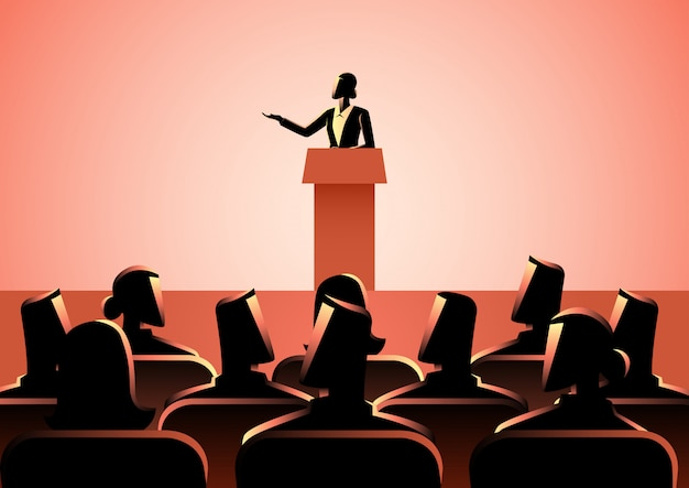 Woman giving a speech on stage Premium Vector
