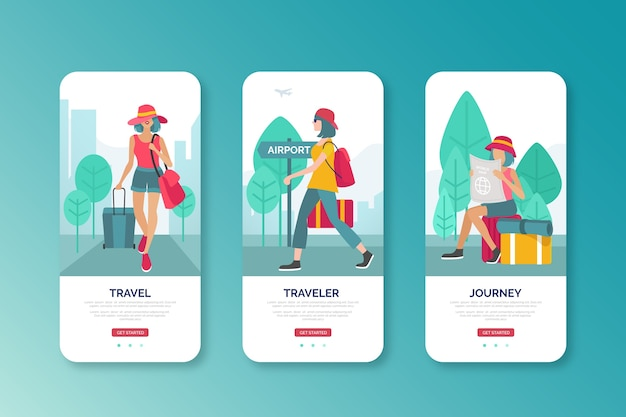 Woman going to airport mobile interface design Free Vector