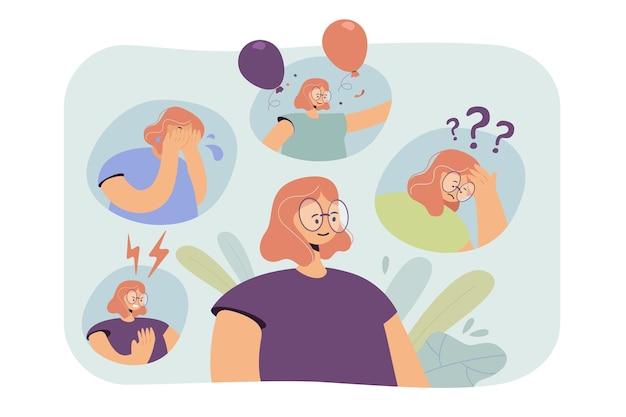 Женщина переживает нервный срыв или биполярное расстройство поведения. иллюстрации шаржа Бесплатные векторы