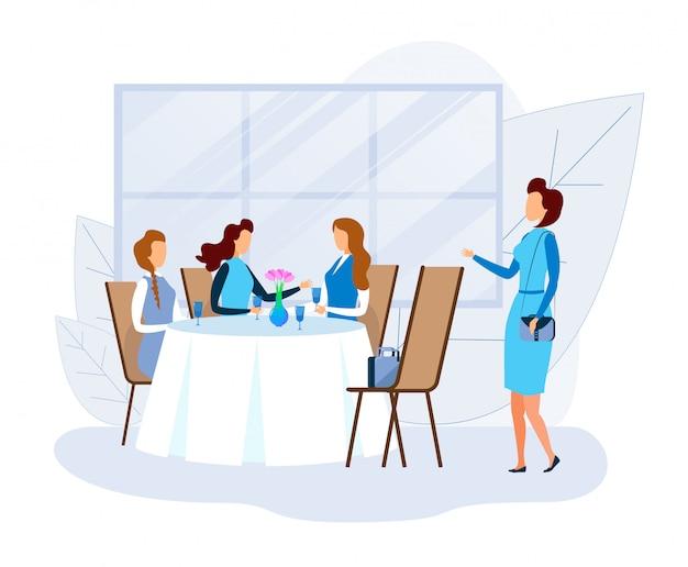 Woman greets female friends resting at restaurant Premium Vector