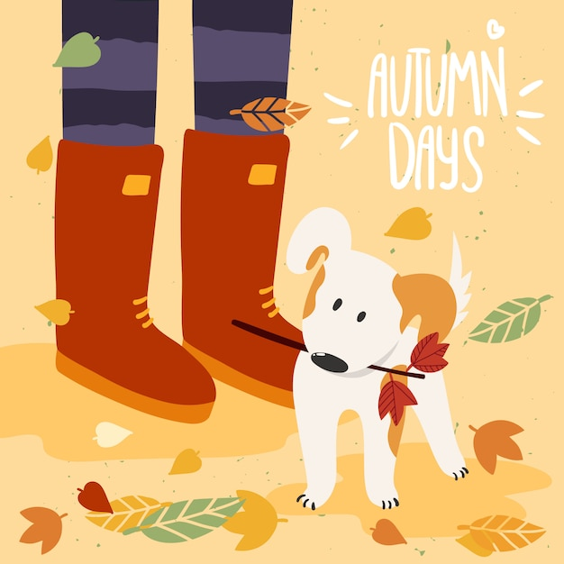 Woman in gumboots playing with dog in fall and lettering autumn days. illustration is for your card, poster, flyer. Premium Vector