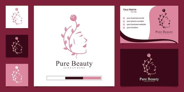 女性の髪の自然サロンスパのロゴのデザインと名刺 Premiumベクター
