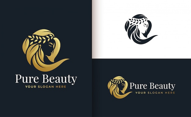 Woman hair salon gold gradient logo design Premium Vector