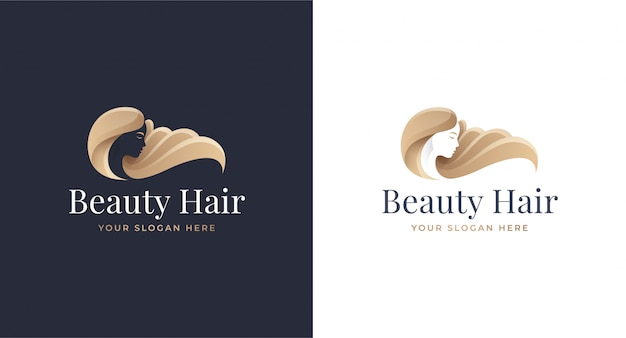 女性ヘアサロンゴールドグラデーションロゴデザイン Premiumベクター