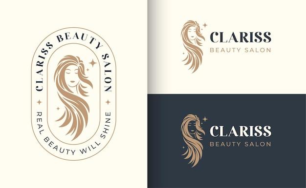 Woman hair salon logo Premium Vector