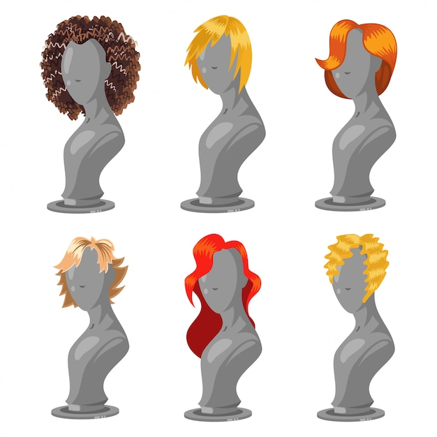 Woman hair style on fashion mannequin. female wigs  cartoon set isolated on a white  . Premium Vector
