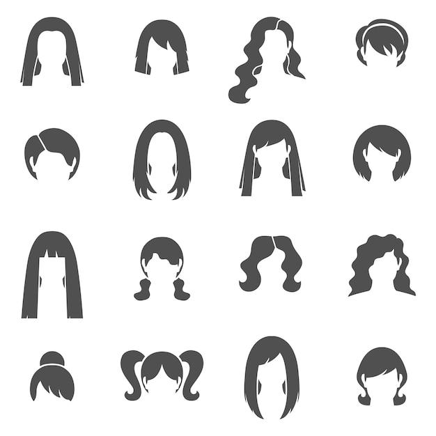 Woman hairstyle black icons set Premium Vector