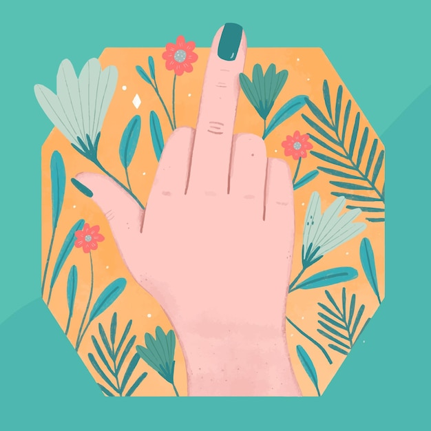 Женщина рука показывает символ ебать тебя с цветами Бесплатные векторы