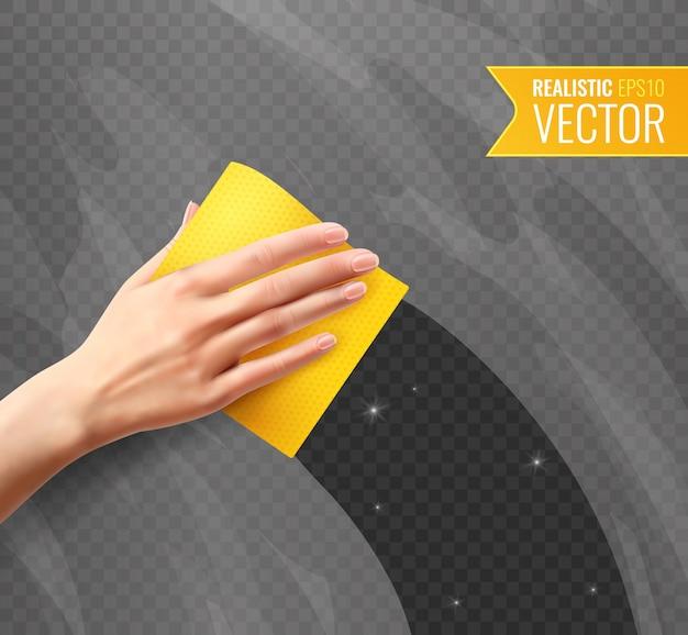 リアルなスタイルで透明な黄色のナプキンで汚れたガラスを拭く女性手 無料ベクター