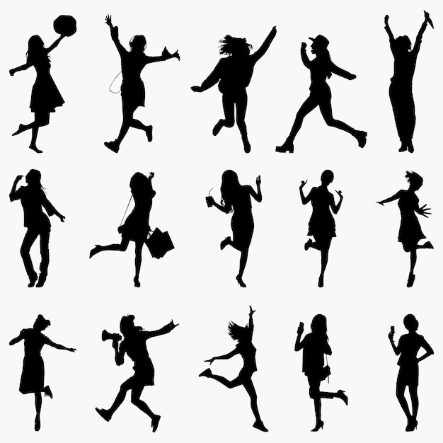 Woman happiness expression silhouettes Premium Vector