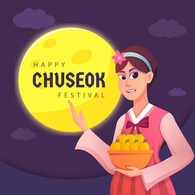 A woman happy korean chuseok card Premium Vector