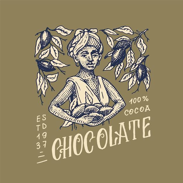 女性はカカオ豆を収穫しました。チョコレート粒。 tシャツ、タイポグラフィ、ショップ、看板のビンテージバッジまたはロゴ。手描きの刻まれたスケッチ。 Premiumベクター