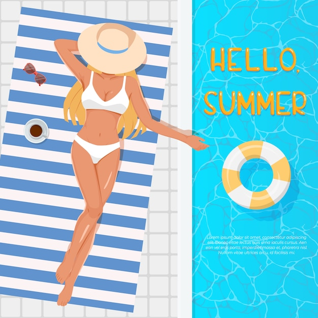 Woman in hat sunbathing on the beach towel near the swimming pool. summer vacation concept. Premium Vector