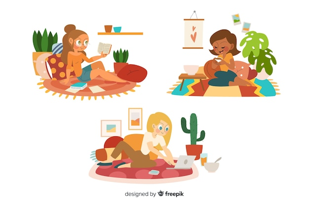 Woman having a great time at home Free Vector