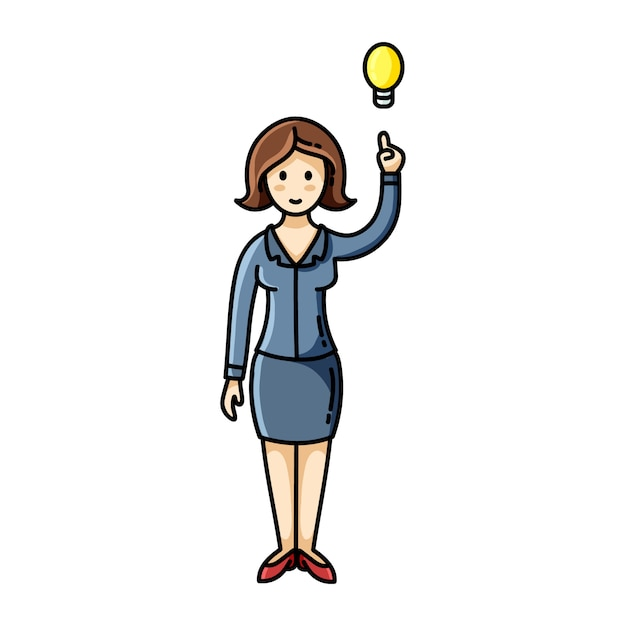 Woman having an idea and pointing her finger up to the light bulb pose. Premium Vector