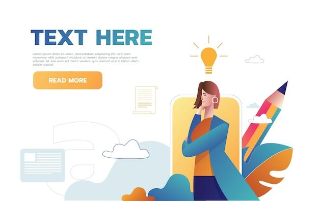 Woman having an idea web template Free Vector