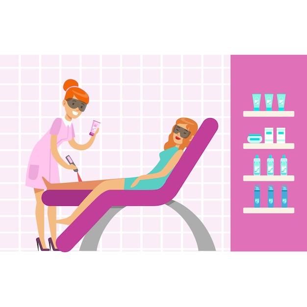 Женщина, имеющая эпиляцию ног с лазерным оборудованием для удаления волос. красочный мультипликационный персонаж иллюстрация Premium векторы