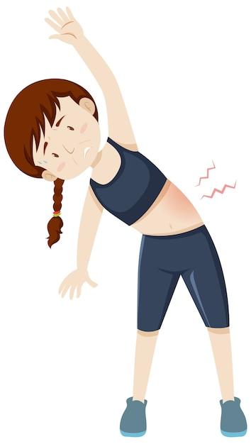 Женщина, имеющая мышечную боль от тренировки Бесплатные векторы
