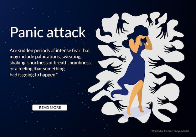 Woman having panic attack disorder in public place Premium Vector