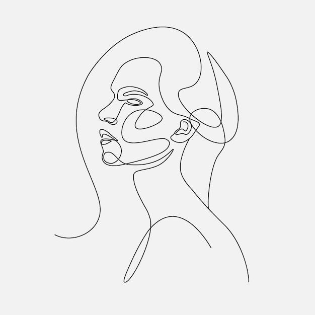Женщина голова lineart иллюстрации. рисование одной линии Premium векторы