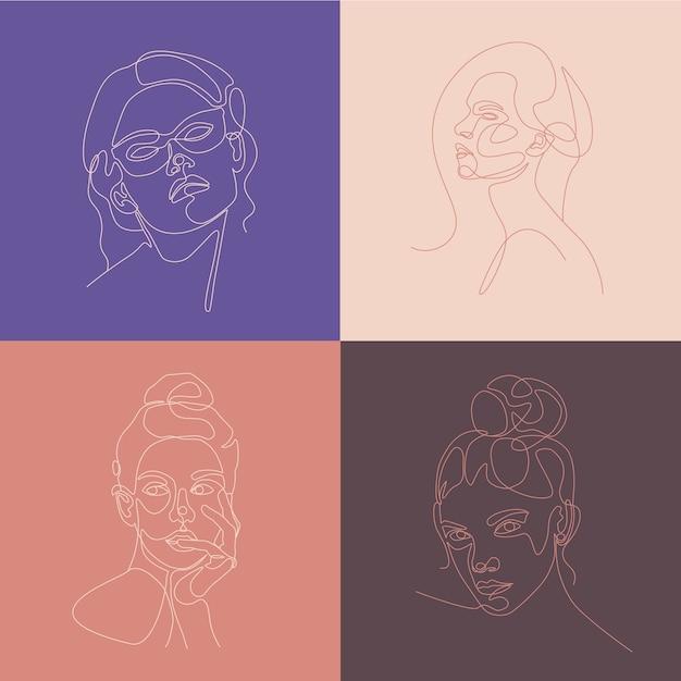 여자 머리 선화 그림을 설정합니다. 한 선 그리기. 프리미엄 벡터