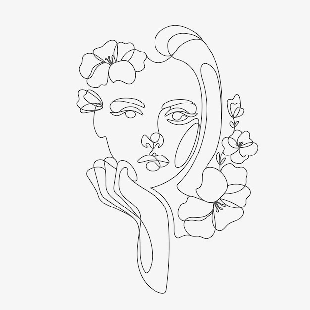 Woman head with flowers composition