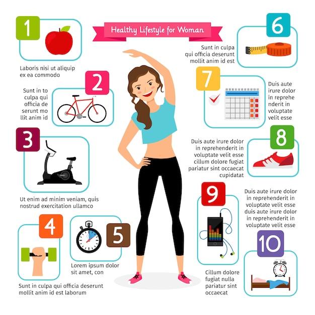 Woman healthy lifestyle infographics. Premium Vector
