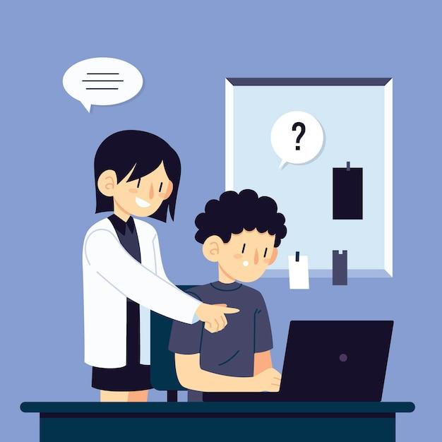 新しい仕事でインターンを助ける女性 無料ベクター