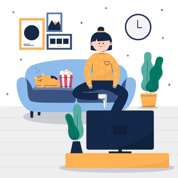 Woman and her cat watching a movie Free Vector