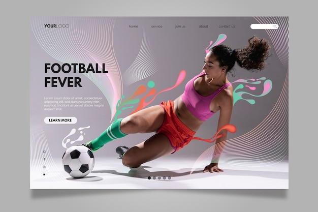 Woman hitting the football ball landing page Free Vector
