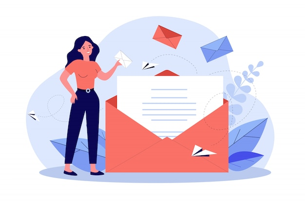 Woman holding business message in envelope Premium Vector