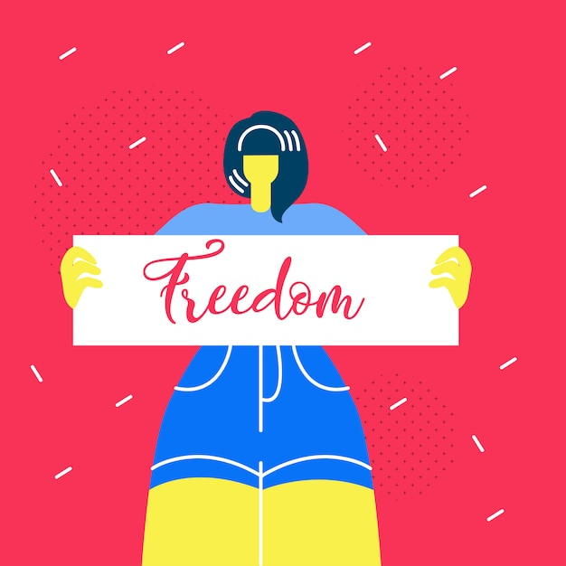 Woman holding freedom placard flat web banner Premium Vector