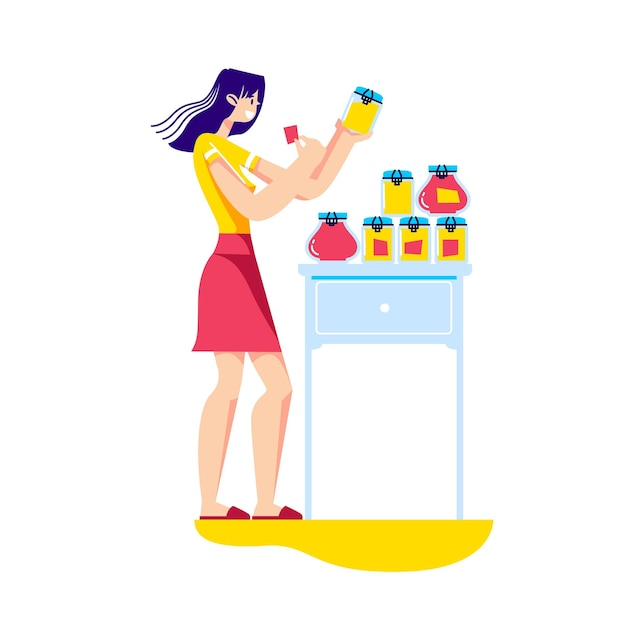 Женщина, держащая банки домашнего варенья из свежих фруктов и ягод Premium векторы
