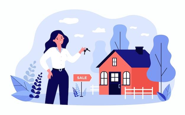 여자가 판매를위한 집에서 키를 들고 웃 고 프리미엄 벡터