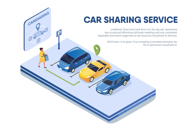 Woman holding mobile phone comes to car for rent. Premium Vector