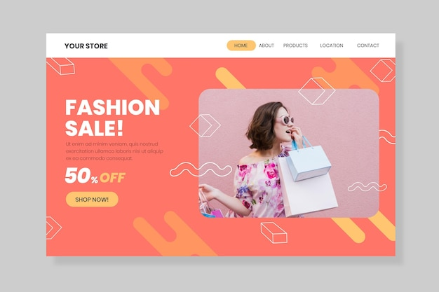 Woman holding shopping bags fashion sale landing page Free Vector