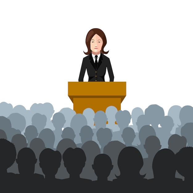 Woman holds a lecture to an audience flat illustration on white Premium Vector