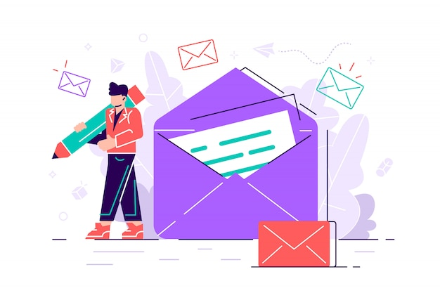 Woman holds mail. chatting. business illustration. working process Premium Vector