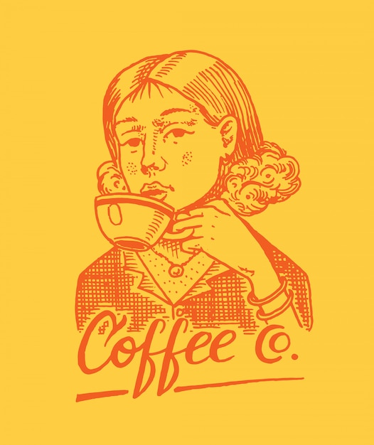 Woman holds a mug of coffee. victorian gentleman. logo and emblem for shop. vintage retro badge. templates for t-shirts, typography or signboards. hand drawn engraved sketch. Premium Vector