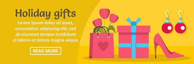 Woman holiday gifts banner template horizontal concept Premium Vector