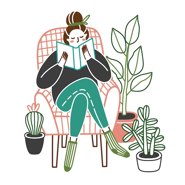 Woman at home reading a book in chair. Premium Vector