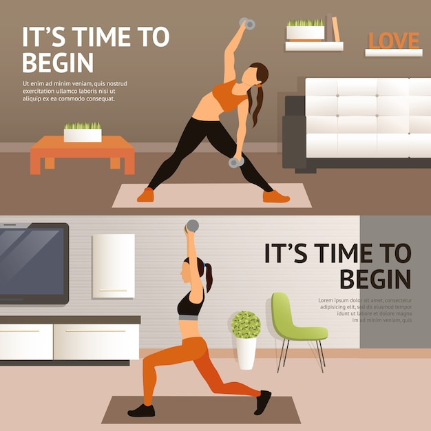 Woman home workout Free Vector